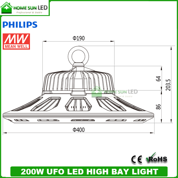 200w Ufo Led High Bay Light With Meanwell Led Driver And